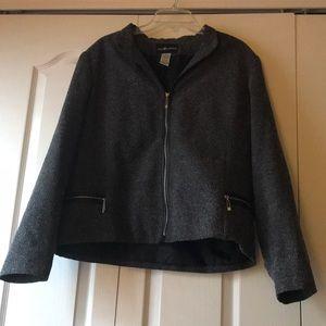 Sag harbor zipped up grey tweed blazers